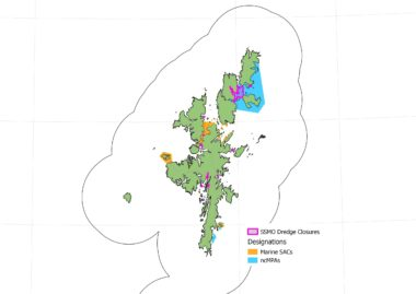 Map of showing spatial management of scallop dredging in Shetland